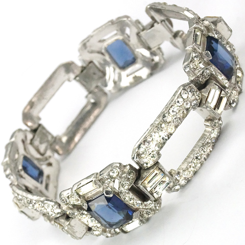 KTF Trifari 'Alfred Philippe' Pave Rectangles and Openwork Squares with Sapphires Deco Link Bracelet