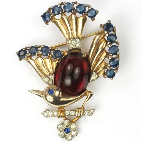 Trifari Sterling 'Alfred Philippe' Gold, Ruby and Sapphires Bird on a Branch with Flower Pin