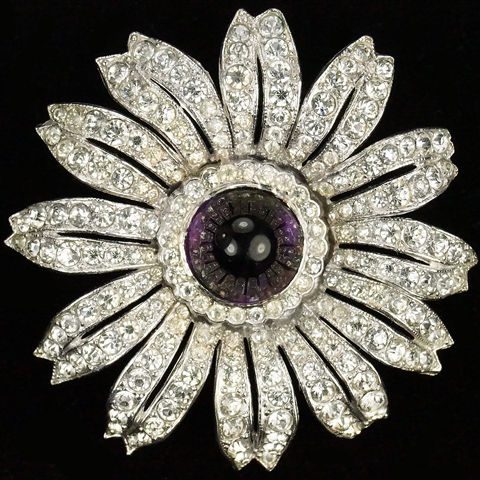 Trifari 'Alfred Philippe' Pave and Amethyst Cabochon Sunflower Pin Clip