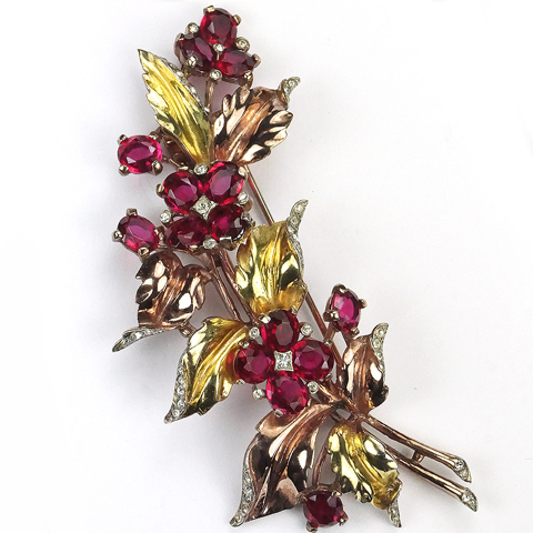 Trifari Sterling 'Alfred Philippe' Two Colour Gold and Rubies Floral Spray Pin Clip