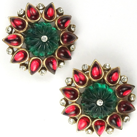 Trifari 'Alfred Philippe' Moghul Jewels Melon Cut Emerald and Teardrop Ruby Cabochons Button Clip Earrings