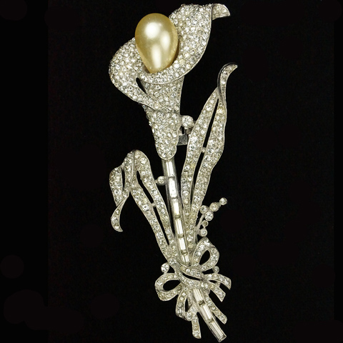 Trifari 'Alfred Philippe' Pave Baguettes and Pearl Giant Calla Lily Pin Clip