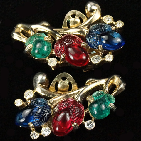 Trifari 'Alfred Philippe' Gold and Tricolour Fruit Salads Clip Earrings