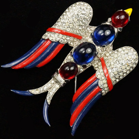 Trifari 'Alfred Philippe' WW2 US Patriotic Ruby and Sapphire Cabochon Red White and Blue Flying Swallow Bird Pin