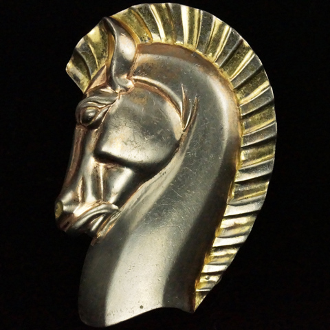 Trifari 'Alfred Philippe' Yellow and Rose Gold Horsehead Pin