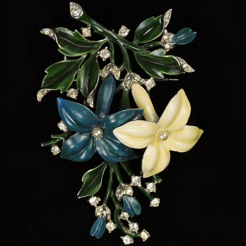 Trifari 'Alfred Philippe' Pave Pearls and Enamel Blue and White Jasmine Flower Pin