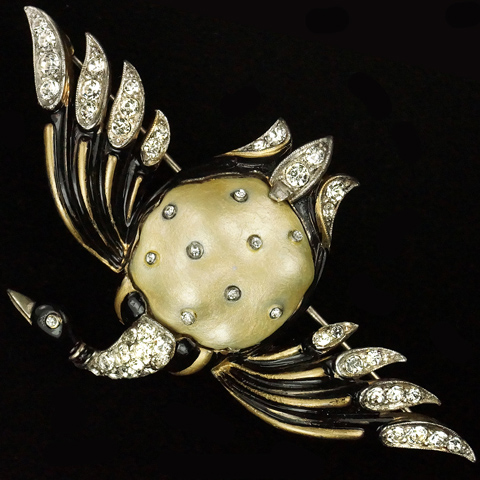 Trifari 'Alfred Philippe' Black Enamel and Pearl Belly Ming Duck Pin