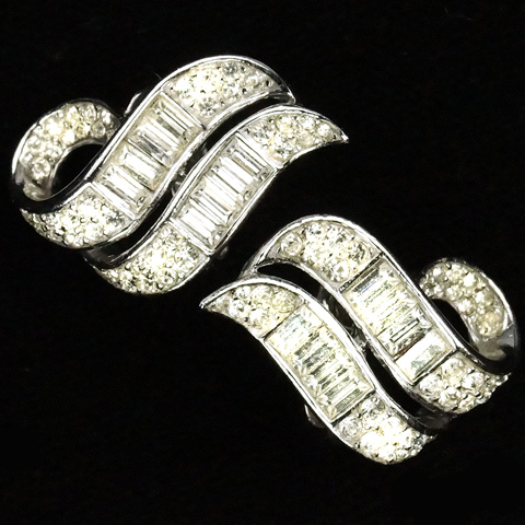 Trifari 'Alfred Philippe' Pave and Baguette Serpentine Swirls Clip Earrings