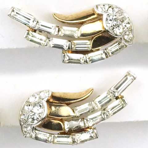 Trifari 'Alfred Philippe' Gold Pave and Diamante Baguette Wings Clip Earrings