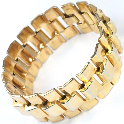 Trifari 'Alfred Philippe' 'Golden Tweed' Stepped Tesselations Bracelet