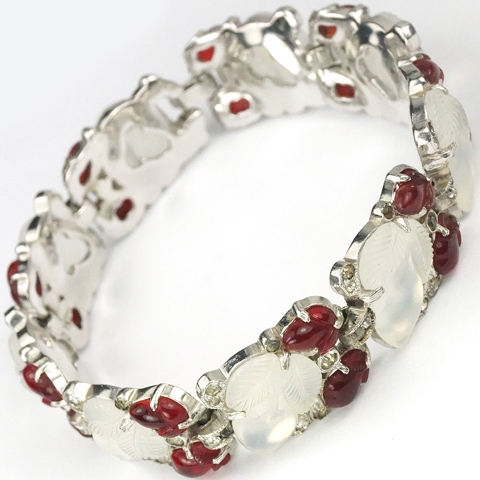 Trifari 'Alfred Philippe' Large Moonstone and Small Ruby Fruit Salads Deco Link Bracelet