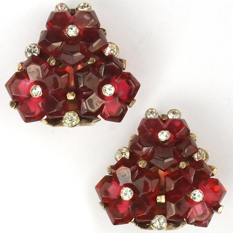 Trifari 'Alfred Philippe' Ruby Fruit Salad Pyramid Clip Earrings