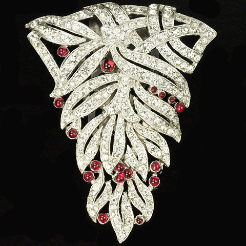Trifari 'Alfred Philippe' Pave Leaves and Ruby Cabochon Fruits Dress Clip