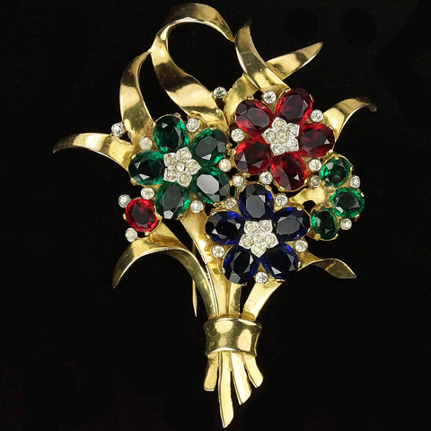 Trifari 'Alfred Philippe' Gold Leaves and Emerald Ruby and Sapphire Flowers Floral Spray Pin Clip