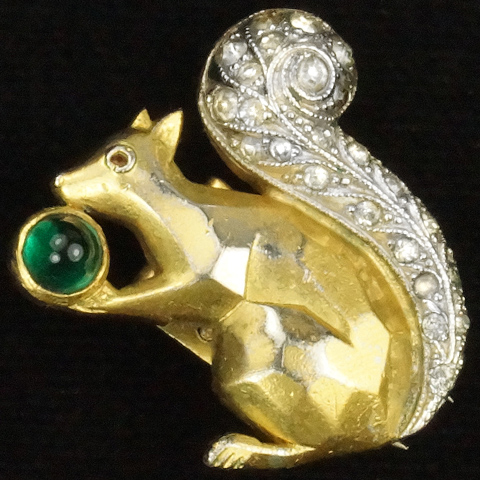 Trifari 'Alfred Philippe' Gold Pave and Emerald Squirrel with Acorn Pin Clip