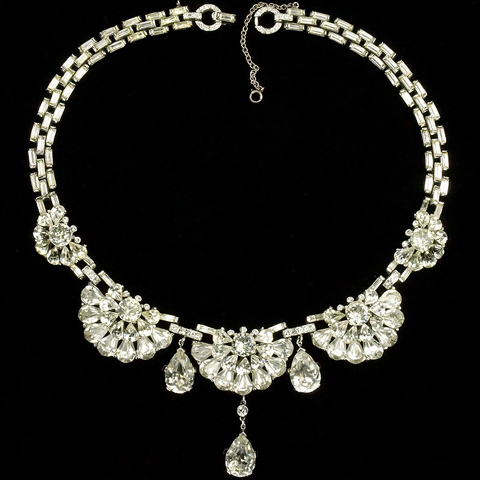 Trifari 'Alfred Philippe' Diamante Baguettes and Navette Flower Clusters Triple Pendant Choker Necklace