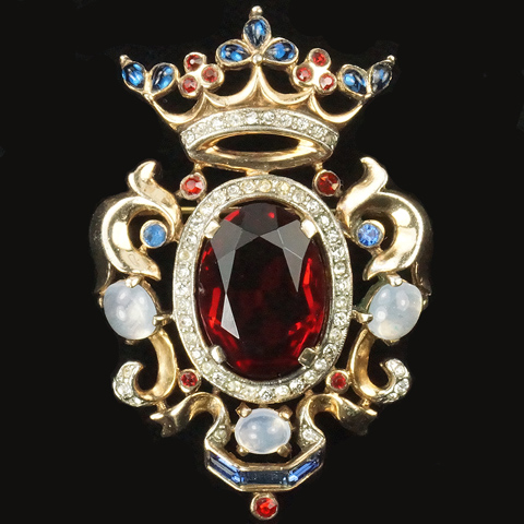 Trifari Sterling 'Alfred Philippe' Regal Crown and Ruby Shield Pin