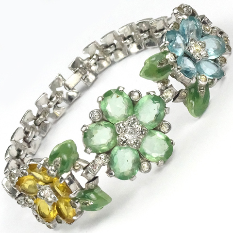 Trifari 'Alfred Philippe' Tricolour Pastel Stones and Enamel Leaves Floral Bracelet