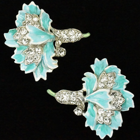 Trifari 'Alfred Philippe' Pave and Enamel Blue Carnation Clip Earrings