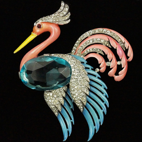 Trifari 'Alfred Philippe' Pave Aquamarine and Enamel Flying Heron Pin
