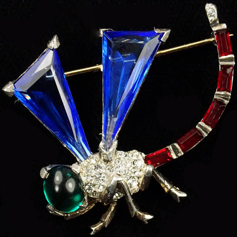 Trifari Sterling 'Alfred Philippe' Triangle Cut Sapphires Dragonfly Pin