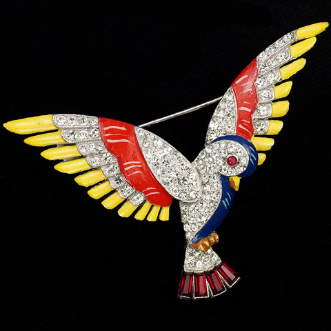 Trifari 'Alfred Philippe' Pave Red Yellow and Blue Enamel and Ruby Baguettes Flying Parrot Bird Pin
