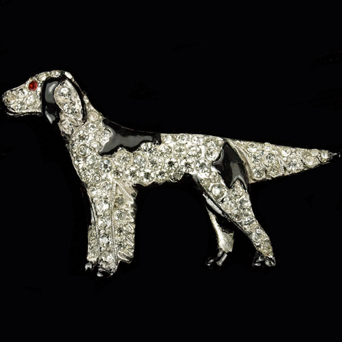 Trifari 'Alfred Philippe' Pave and Enamel Patches Pointer Dog Pin