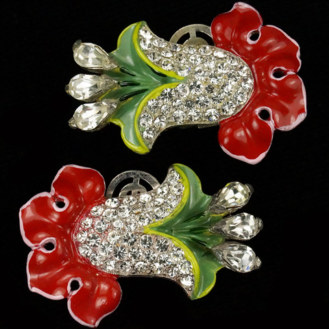 Trifari 'Alfred Philippe' Pave Bellflower and Red and Green Enamel Large Clip Earrings