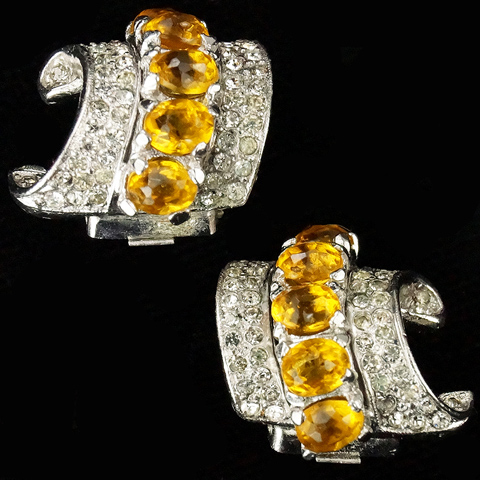 Trifari 'Alfred Philippe' Pave and Citrines Swirl Clip Earrings