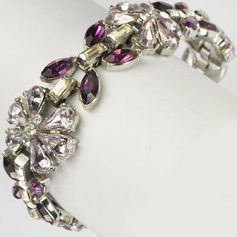 Trifari 'Alfred Philippe' Pale and Dark Amethyst Flowers and Leaves Bracelet