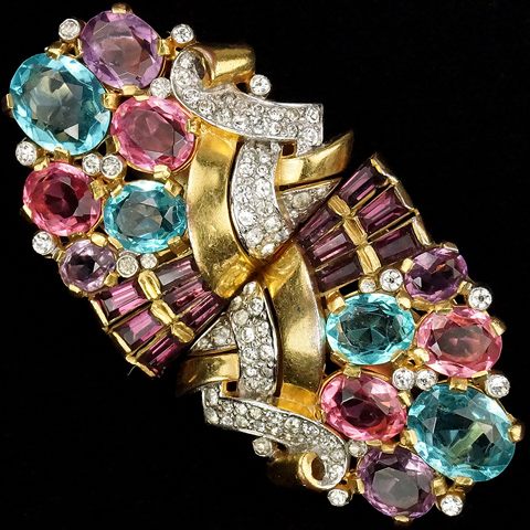 Trifari 'Alfred Philippe' Gold Pave Pink Topaz Aquamarine and Amethyst Baguettes Clipmate Pin or Pair of Dress Clips