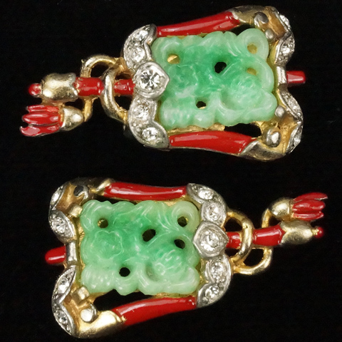 Trifari 'Alfred Philippe' Ming Chinese Processional Flag Clip Earrings