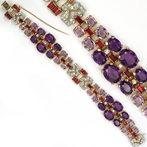 Trifari 'Alfred Philippe' Pave, Pink Topaz, Amethysts and Rubies Graduated Articulated Bracelet
