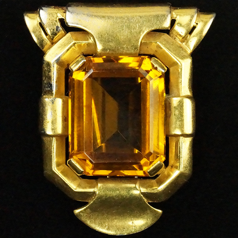 Trifari 'Alfred Philippe' Gold and Citrine Doorknocker Pin Clip
