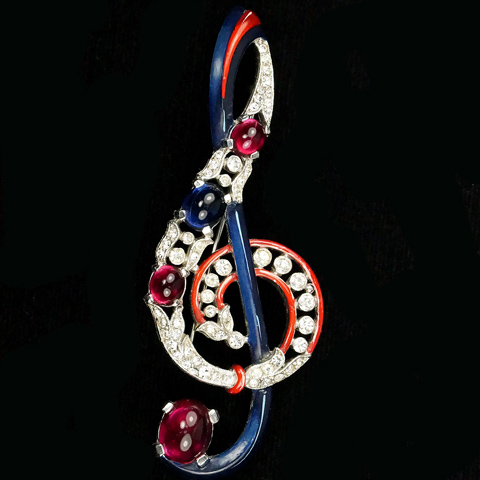 Trifari 'Alfred Philippe' Pave Ruby and Sapphire Cabochons and Blue Enamel Musical Treble Clef Pin