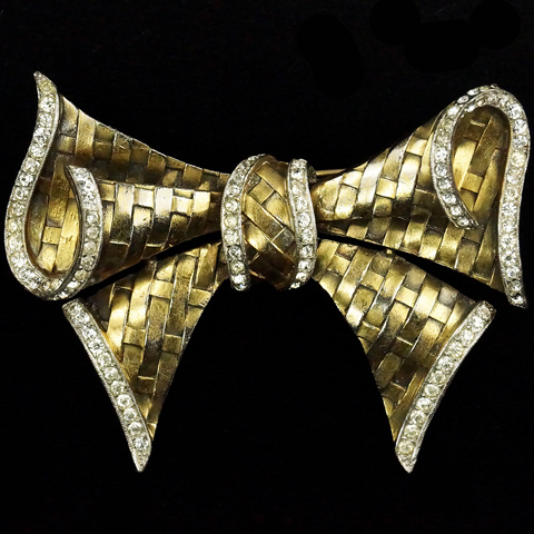 Trifari 'Alfred Philippe' Pave and Gold Basketweave Bow Tie Pin