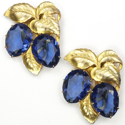 KTF Trifari 'Alfred Philippe' Pair of Golden Leaves and Sapphire Fruits Dress Clips