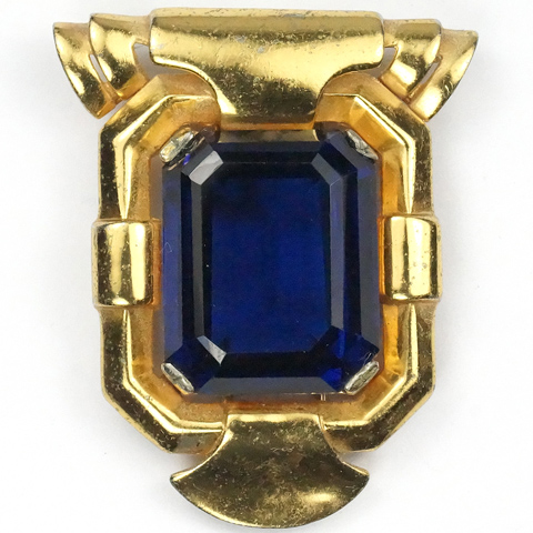 Trifari 'Alfred Philippe' Gold and Sapphire Doorknocker Pin Clip