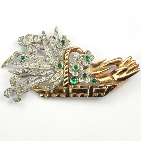 KTF Trifari Pave Flowers and Gardening Glove and Trowel in a Golden Basket Pin