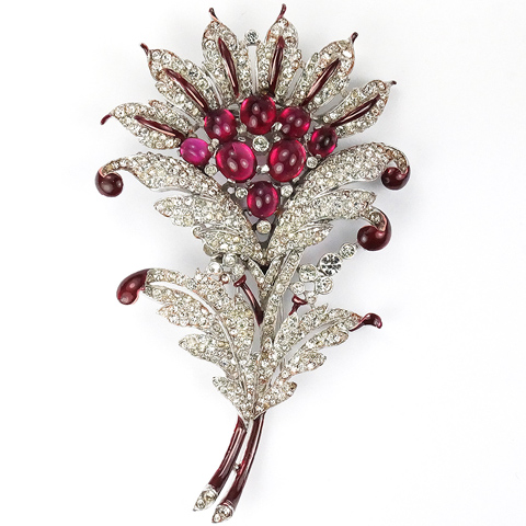 Trifari 'Alfred Philippe' Pave Red Enamel and Ruby Cabochon Opening Sunflower Pin Clip