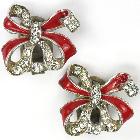 Trifari 'Alfred Philippe' Pave and Red Enamel Bow Clip Earrings