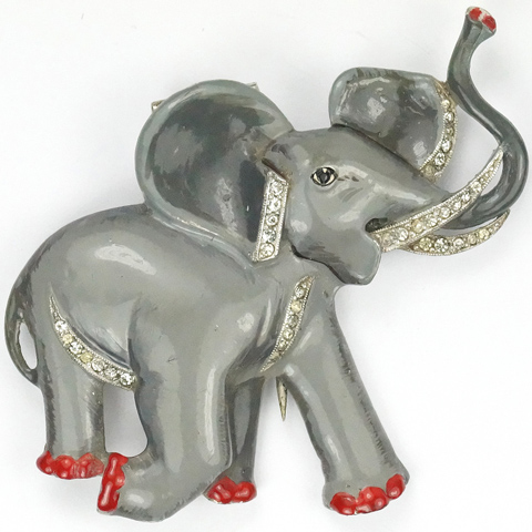 Trifari 'Alfred Philippe' Pave and Enamel Grey Trumpeting Charging African Elephant Pin Clip