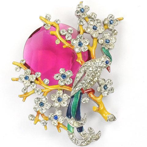 Trifari 'Alfred Philippe' Pave and Enamel Bird in a Tree with Rising Ruby Moon Pin