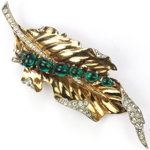 Trifari Sterling 'Alfred Philippe' Emerald Cabochon Caterpillar on A Gold and Pave Leaf Pin Clip