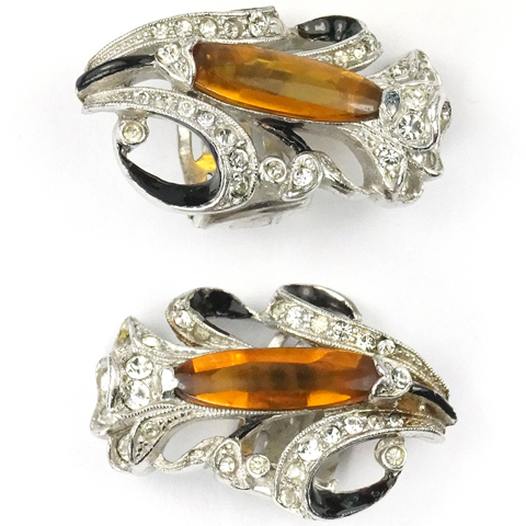 Trifari 'Alfred Spaney' Citrine Calla Lily Floral Spray Clip Earrings