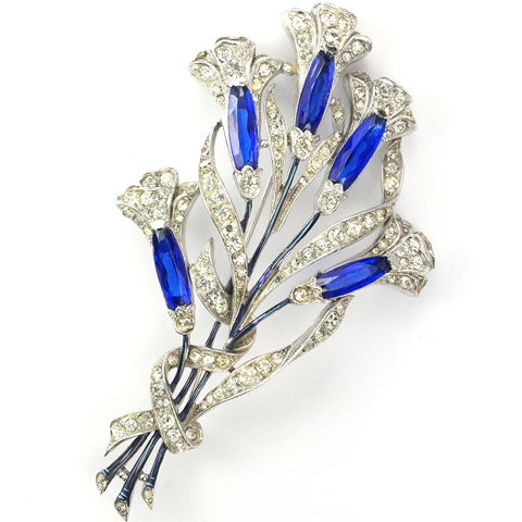 Trifari 'Alfred Spaney' Five Flower Sapphire Calla Lily Floral Spray Pin