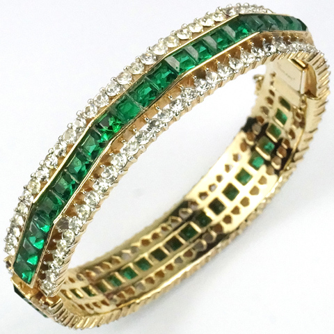 Trifari 'Alfred Philippe' Gold Pave Gallery and Invisibly Set Emerald Bangle Bracelet