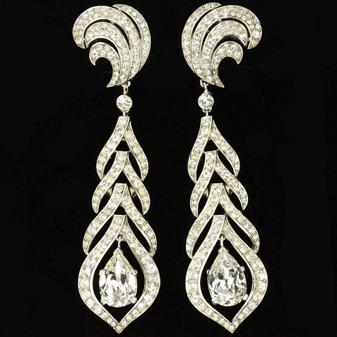Trifari 'Alfred Philippe' Pave Crescents Leaves and Navettes Trapeze Giant Pendant Clip Earrings