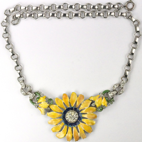 Trifari 'Alfred Philippe' Pave and Enamel Yellow Daisy Flower Necklace