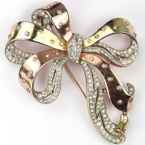 Trifari 'Joseph Wuyts' Pave and Spangled Two Colour Gold Bow Pin Clip